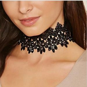Wide Black Lace Imitation Pearl Choker Necklace